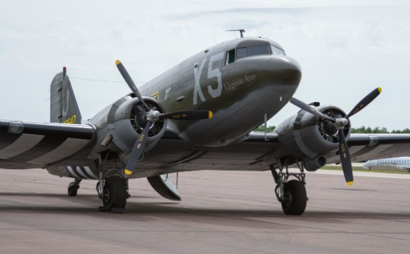 A plane on the runway at Central Wisconsin Airport during the Warbird Rendezvous.