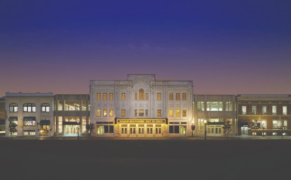 Night time image of the Grand Theater and Arts Block located in Wausau.