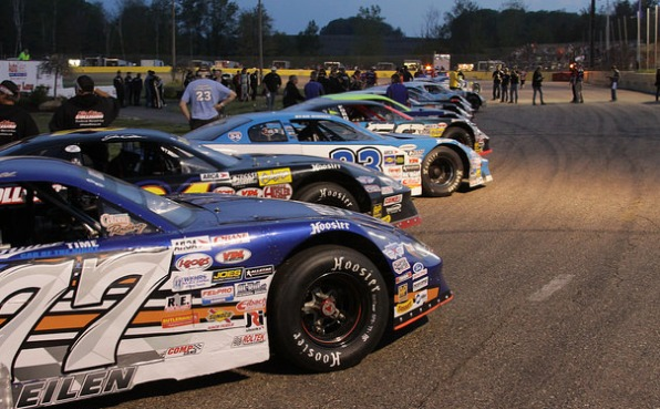 Cars lined up at State Park Speedway prior to racing.