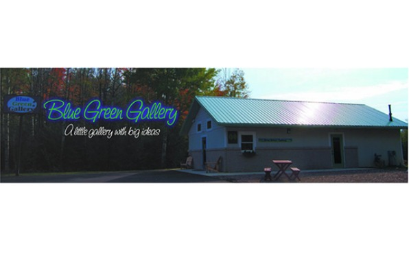 Blue Green Gallery Logo and Building