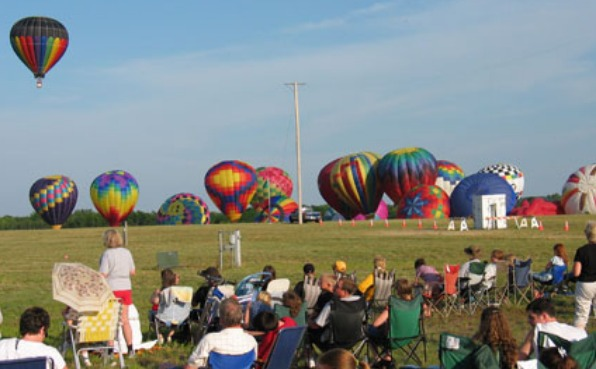Balloons launch from Wausau Downtown Airport during Balloon and Rib Fest.