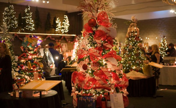 Room full of decorated Christmas Trees